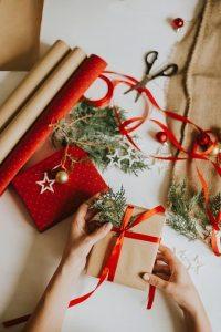 Woman preparing Christmas present