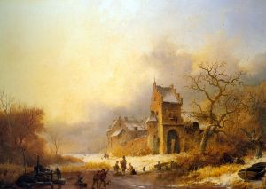frozen_river_in_a_winter_landscape_1849_Oil_On_Panel