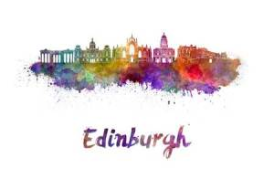 edinburgh-skyline-in-watercolor-splatters-with-clipping-path